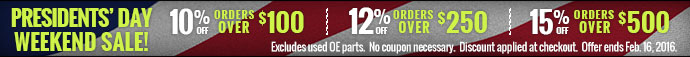 Save 10-15% on Auto Parts for Presidents' Day